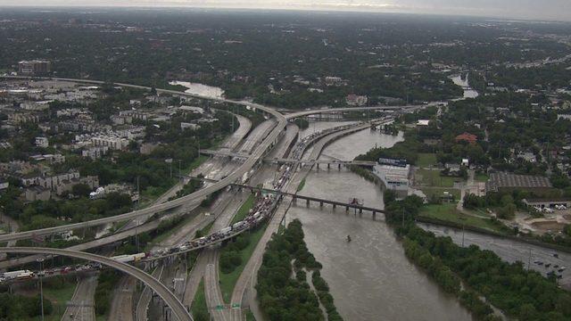 Sky 2 surveys floodwaters in Houston area on Sept. 19, 2019