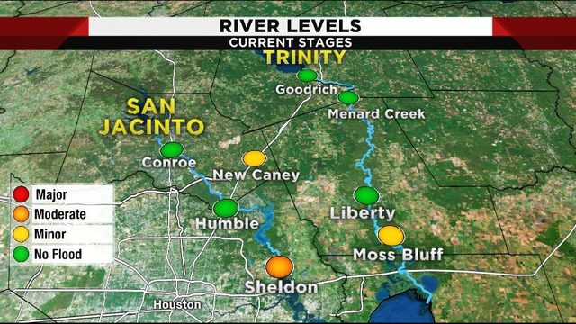 Areas of concern with certain rivers, bayous out of their banks