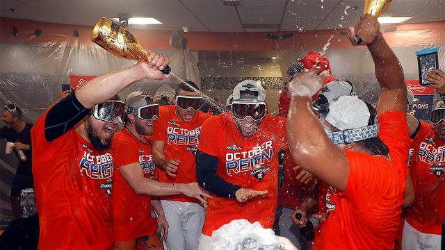 See how team celebrates after Astros clinch AL West Division title