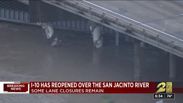 I-10 reopens over San Jacinto River