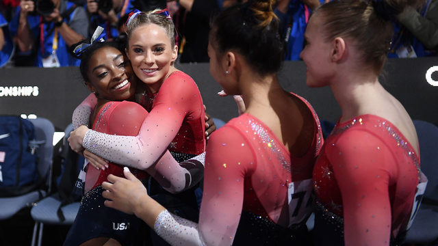 Simone Biles sets new record as US wins world gymnastics team gold