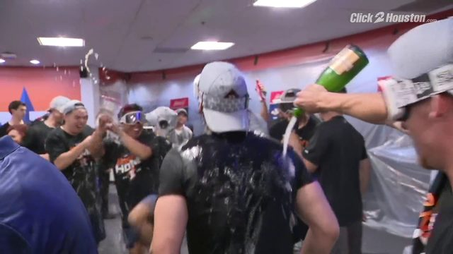 Inside the Astros' champagne celebration in the Minute Maid locker room