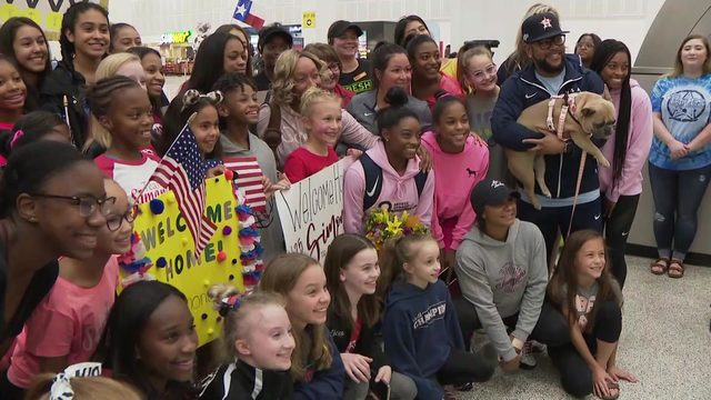 Simone Biles returns home after becoming most decorated gymnast in World…
