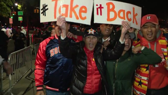Astros fans in New York celebrate after Game 3 win