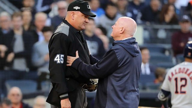 Plate umpire Jeff Nelson leaves ALCS Game 3 with concussion