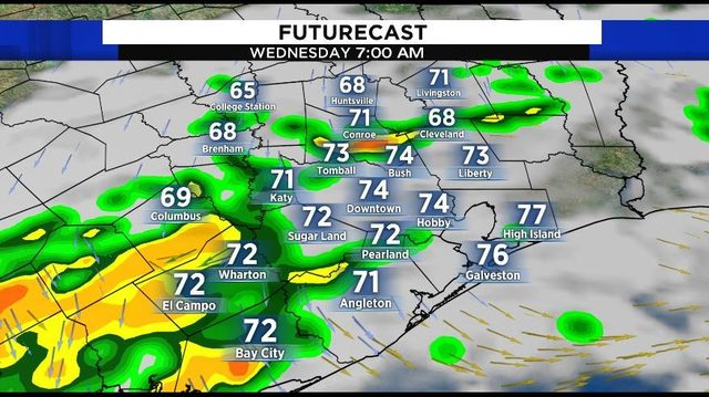 Heavy rain to drench Houston area ahead of cold front