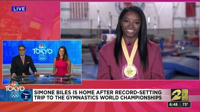 Renown gymnast Simone Biles talks to KPRC 2 about record-setting trip to Germany