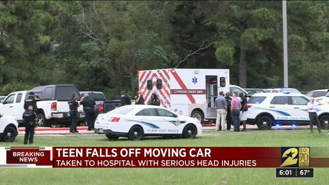 Teen falls off moving car