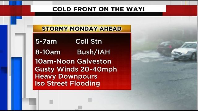 Cold front brings messy, stormy commute Monday