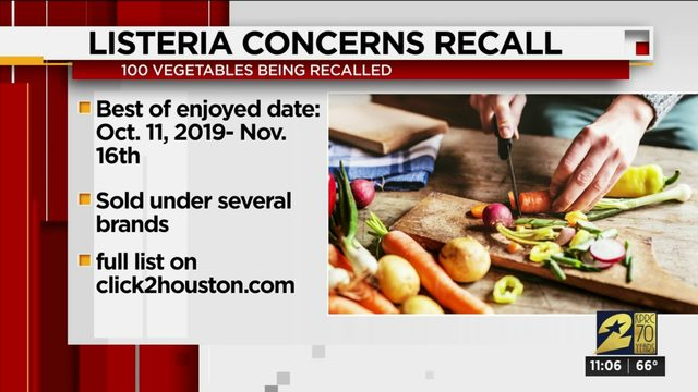 More than 100 vegetable products recalled