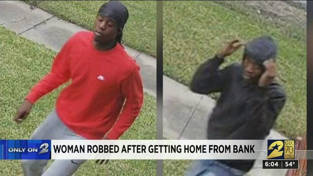 Woman robbed after getting home from bank