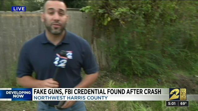 Fake Guns and FBI Credential Found After Crash