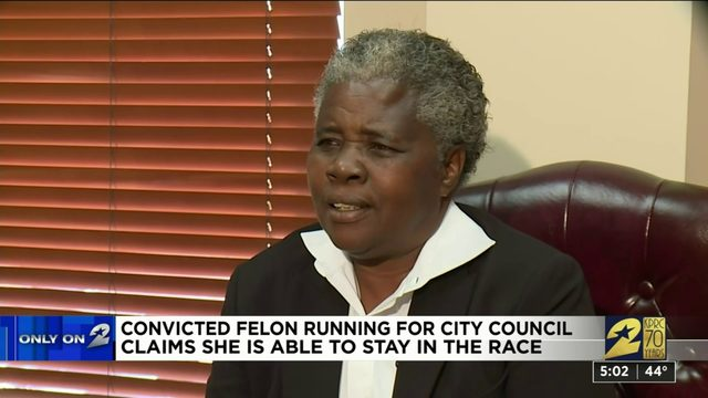 Convicted felon running for city council says she's eligible to stay in race