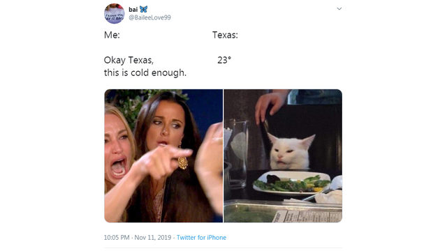 Houstonians lose chill online, react with memes as cold front blows through city