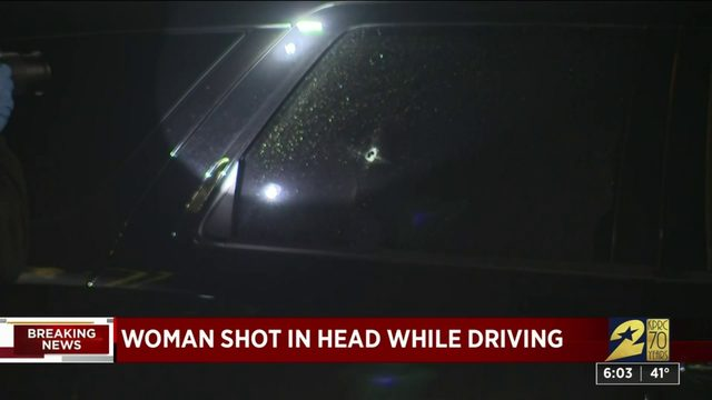 Woman shot in head while driving