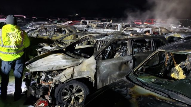 27 cars burned in fire at storage unit near Bush Airport, officials say