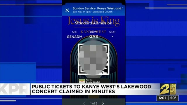Tickets to Kanye West's Lakewood Church concert claimed in minutes